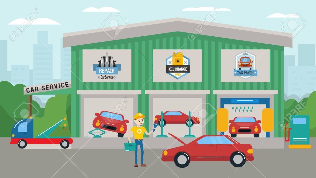 Car service building vector illustration. Car wash, repair