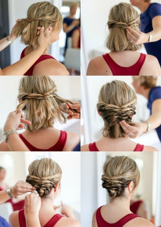 27 Cute And Easy Updo For Short Hair 2019 Short Hair Updo Easy Short Hair Updo Easy Hair Updos
