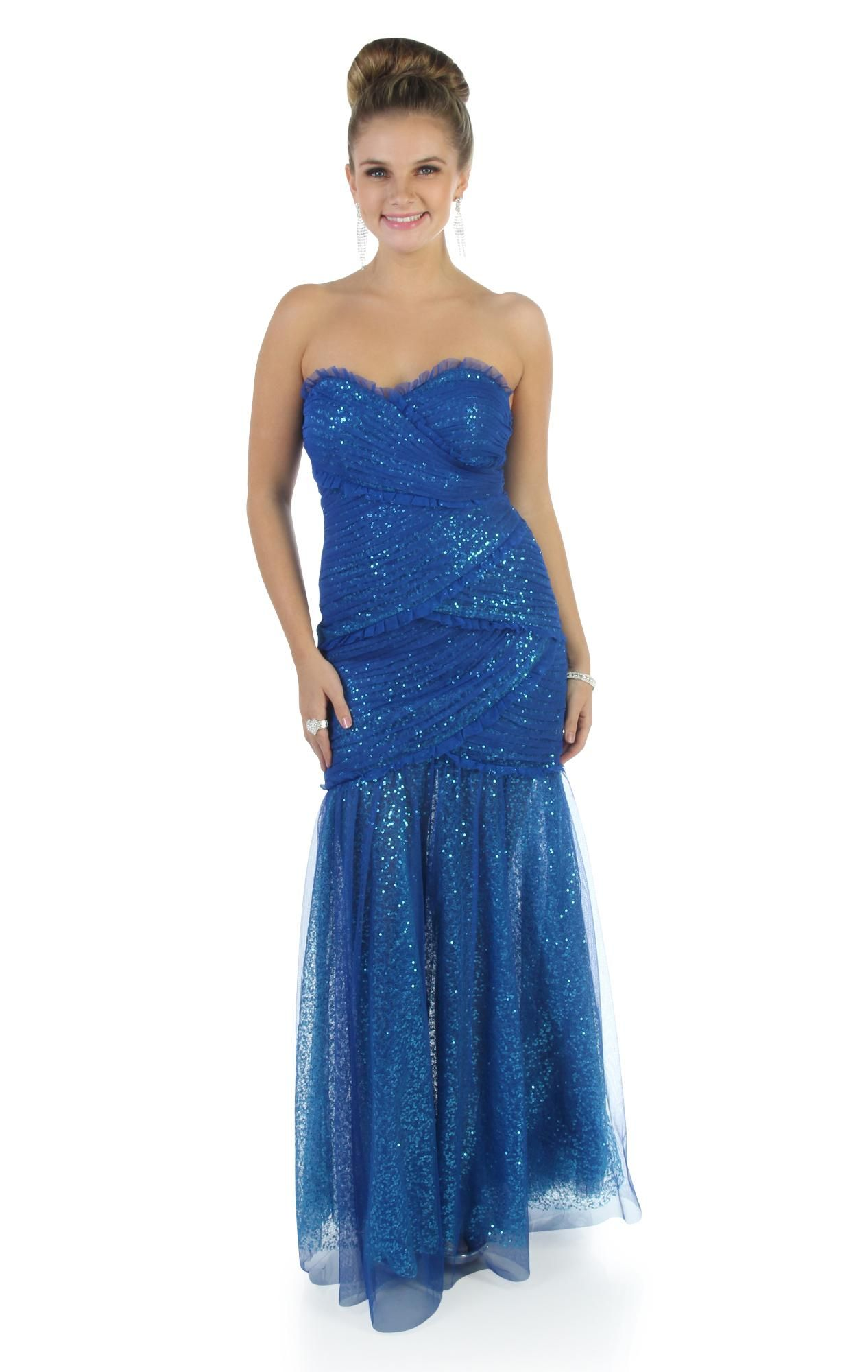 Deb shops royal blue strapless sequin long prom dress with
