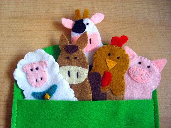 Farm animals finger felt puppets by FamilyCraft45 on Etsy, $23.00