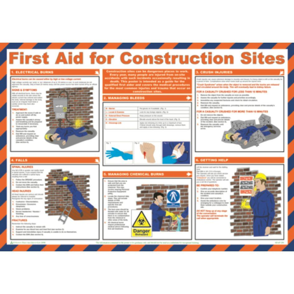 First Aid for Construction Sites Sign Laminate (590 x