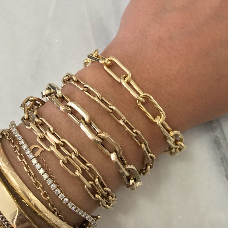 Stretch Chain Link Bracelet Antique Gold