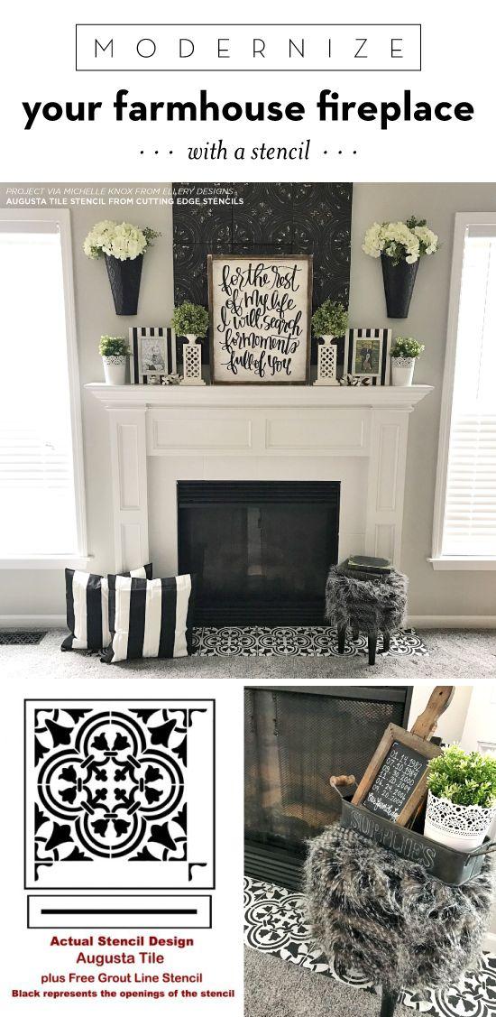 Modernize Your Farmhouse Fireplace With A Stencil L O N A