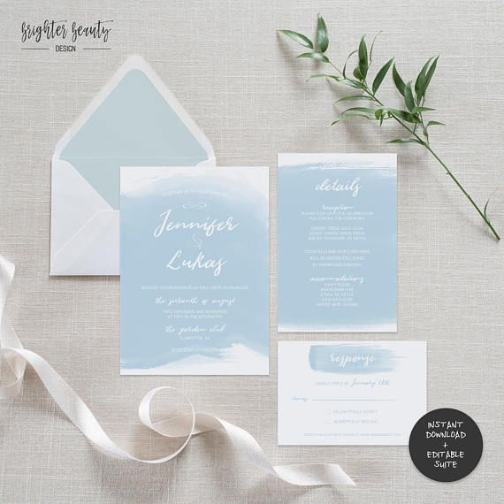 Blue Watercolor Wedding Invitation Suite Beach Wedding Invitations