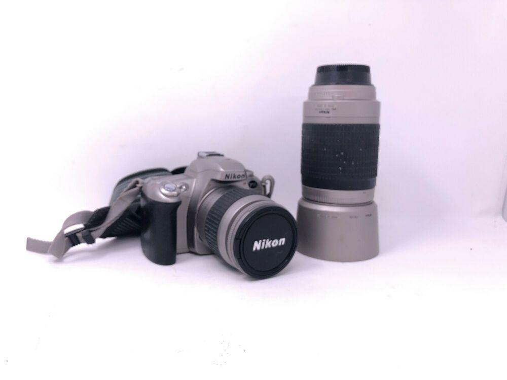 Nikon F55 Film Camera W 28 80mm F 3 3 5 6g And 70 300mm F 4 5 6g Untested Nikon Film Camera Ebay Slr Film Camera