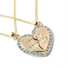 Goldtone Best Friends Heart Necklaces Fashion Jewelry 2 Necklaces