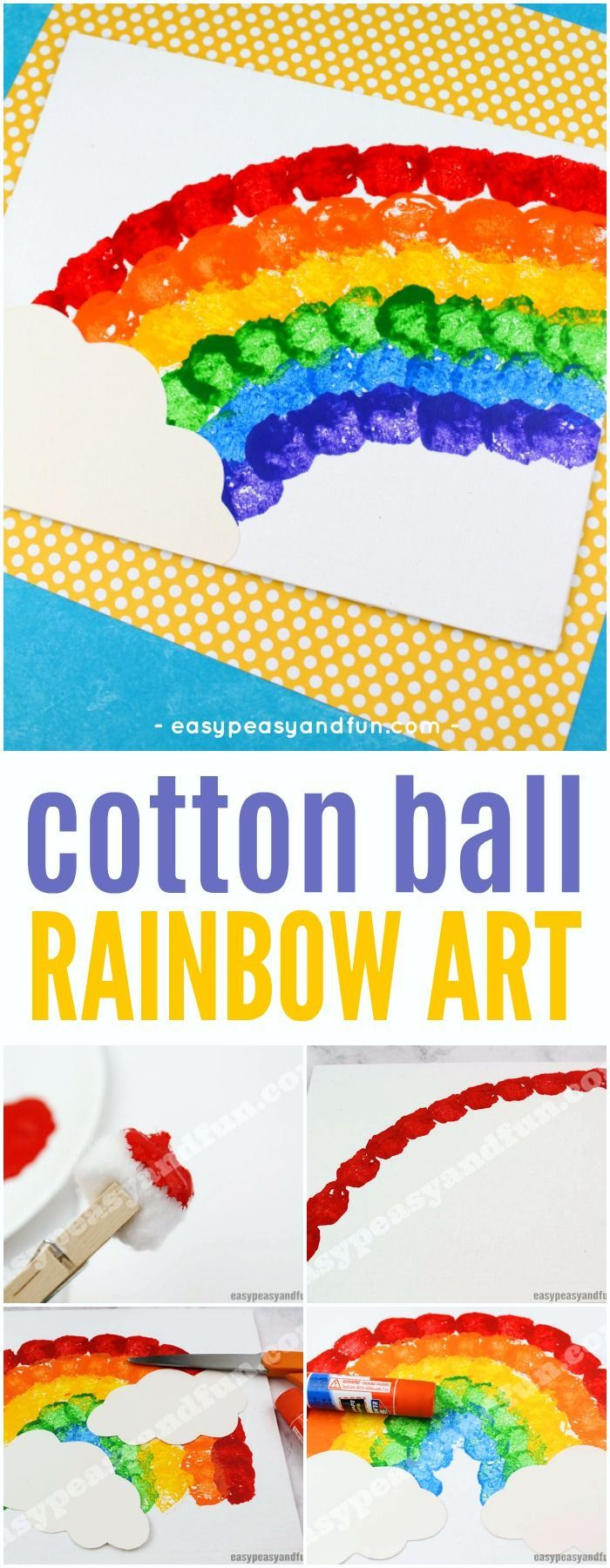 Cotton Ball Rainbow Art - Easy Peasy and Fun #rainbowcrafts