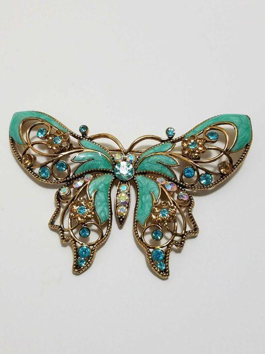 Nina Ricci for Avon turquoise large enameled brooch New York 1960