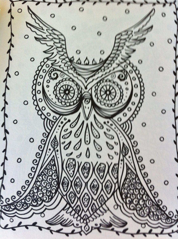 owls coloring book etsy shop chubbymermaid zentangle