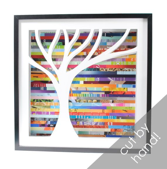 tree shadowbox with recycled magazine pieces