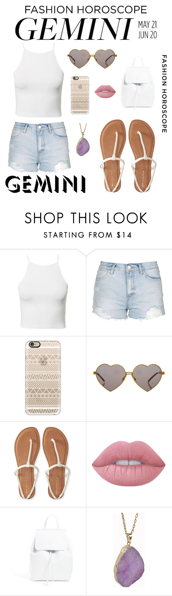 """""""Summer: Gemini Style"""" by zoepaigexo ❤ liked on Polyvore featuring NLY Trend, Topshop, Casetify, Wildfox, Aéropostale, Lime Crime, Mansur Gavriel, Helix & Felix, fashionhoroscope and stylehoroscope"""