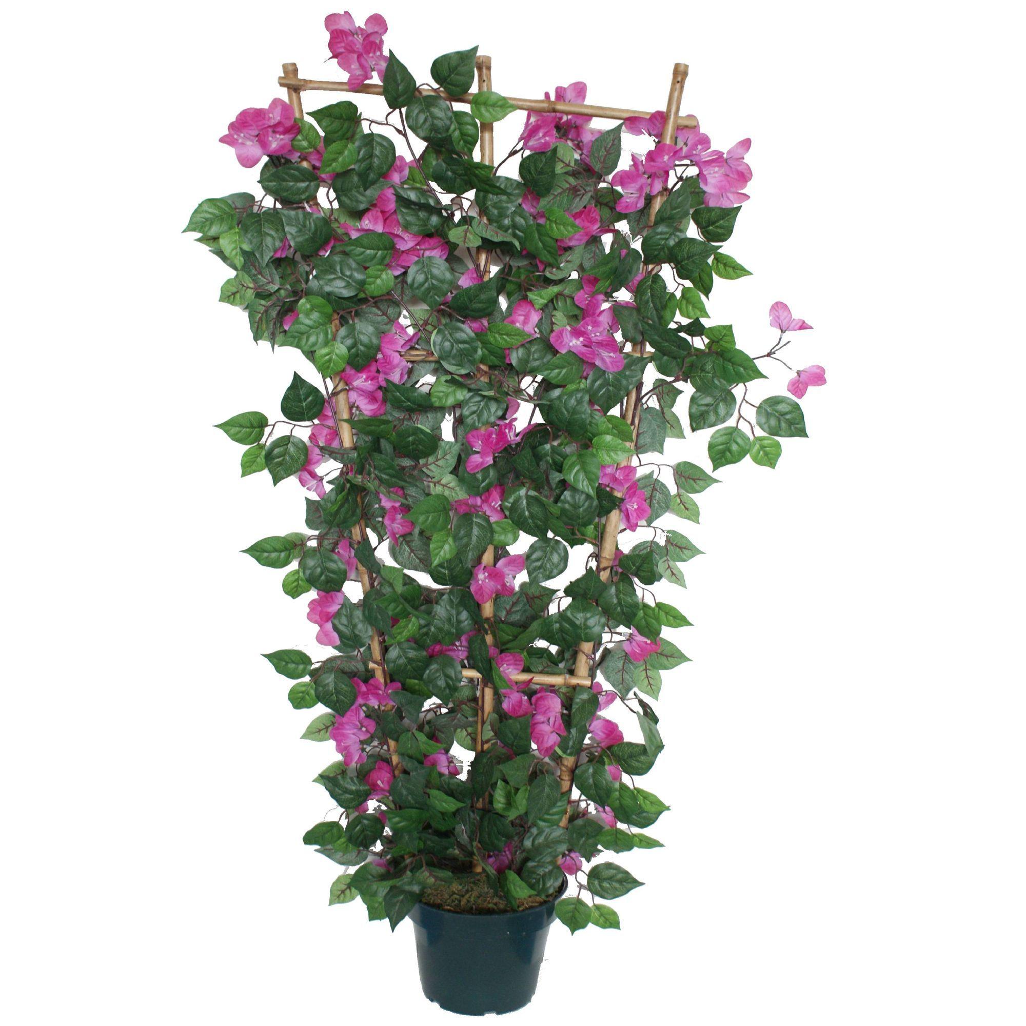 bougainvillier rose artificiel sur treillage h120cm vert et rose