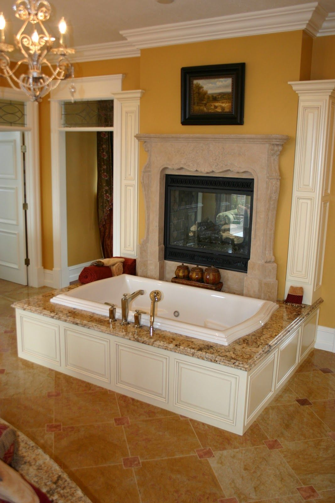Bedroom Bathroom Beautiful Design And Decoration Of: A Delicious Tub In Front Of A Fireplace In A GRAND Master