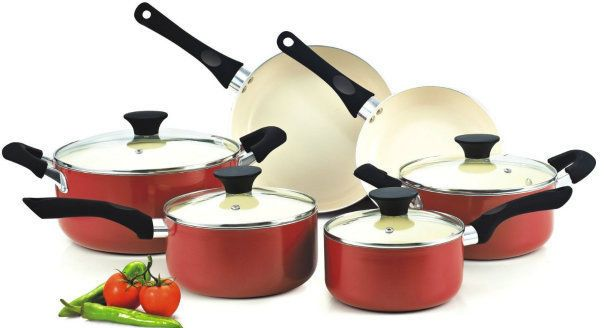 Free Shipping 10-Piece Cookware Set, Red Kitchen New