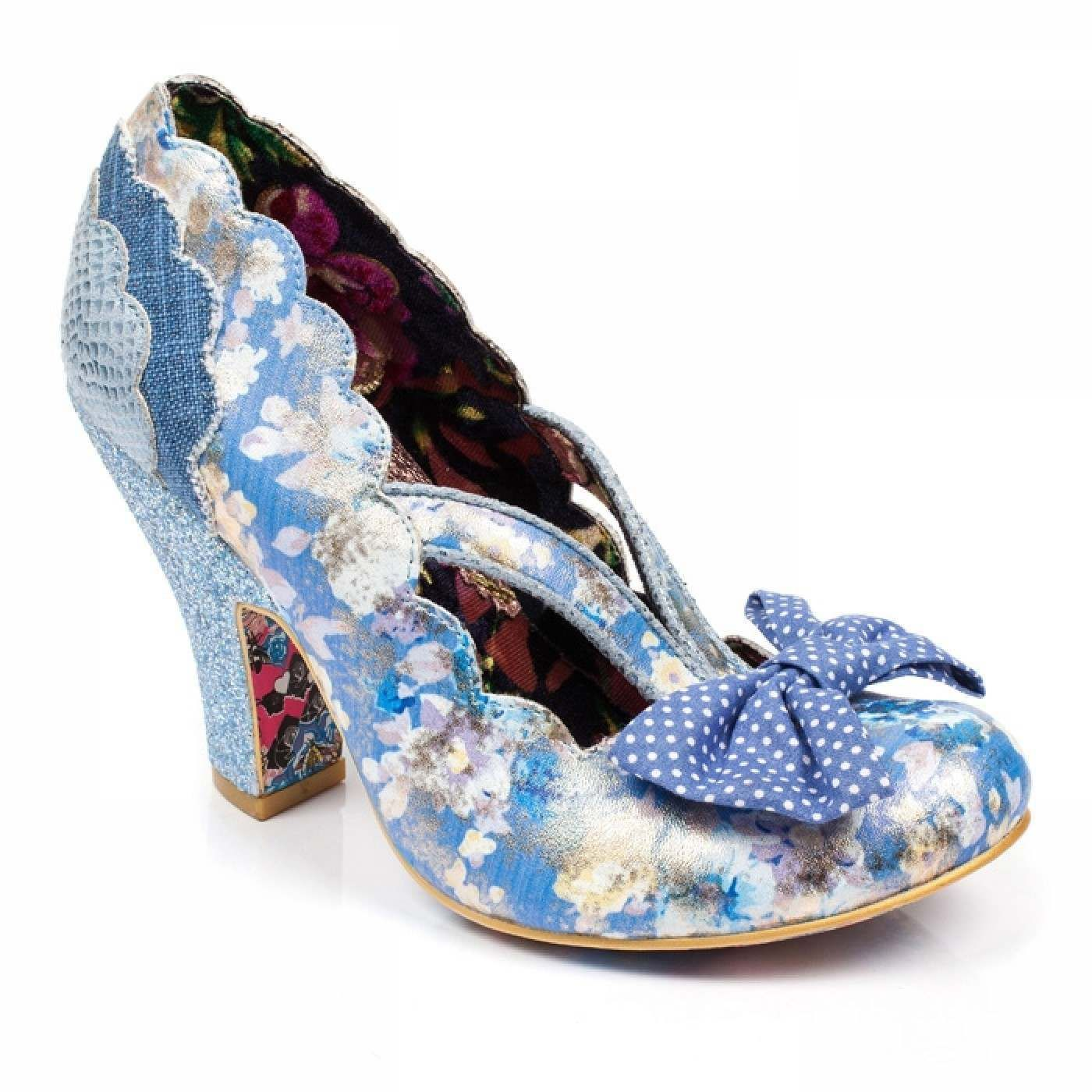 Irregular Choice Curtain Call P Blue Floral High Heel Shoes