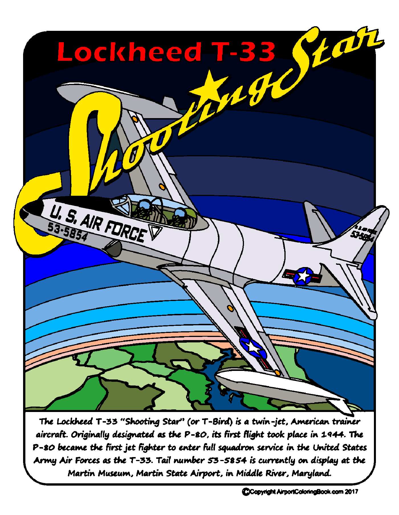 Airport Coloring Book T-33 Shooting Star | airport and airplane ...