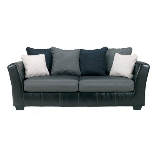 Masoli Cobblestone Faux Leather Fabric Sofa With Loose Back Pillows By Benchcraft Sam S
