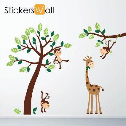 monkey giraffe tree nursery jungle wall stickers amazon co uk