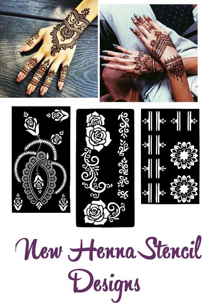 fe5805b77 New Henna Stencil Mehndi Template Vinyl Sticker Mixed Designs Body Art  Pattern