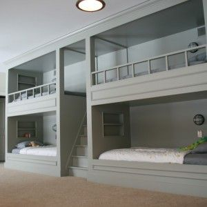 Unusual Grey Custom Wooden Bunk Beds With Built In Beds Design And