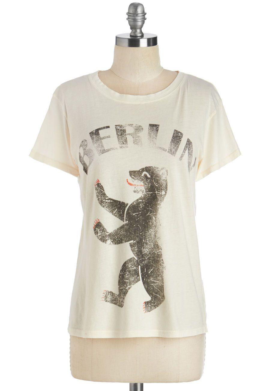 Raise the Bär Tee - Mid-length, Cream, Novelty Print, Casual, Short Sleeves, Cotton, Knit
