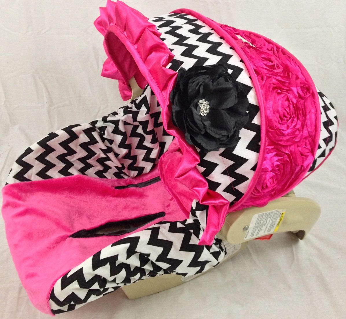 For A Girl Chevron Infant Car Seat Cover With Bling And
