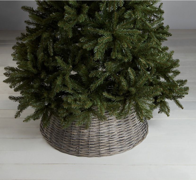 NEW Natural Willow Christmas Tree Skirt Distressed Grey