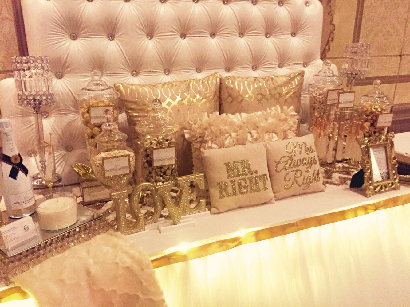 Sweet amp sparkly wedding candy buffet pictures to pin on pinterest - Sweets Table For A Wedding Reception Designed By Glam Candy Buffets Headboard By Prissy Sweet