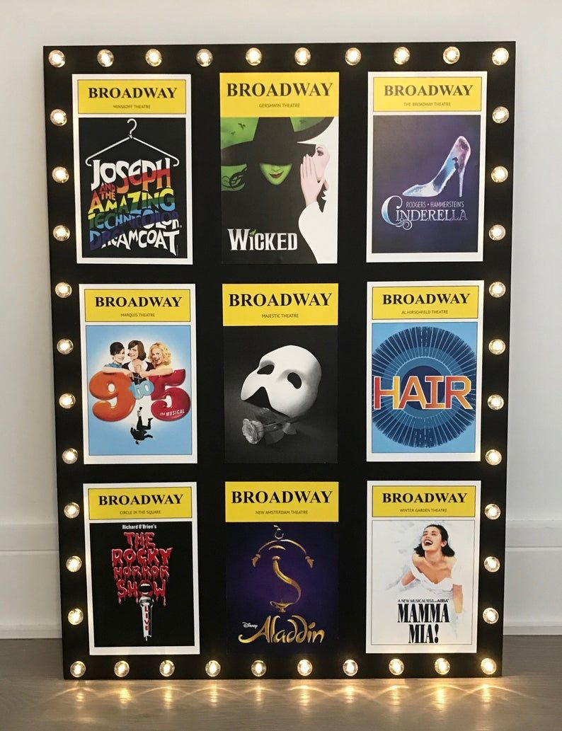 Broadway Playbill Collage Wall Art With Marquee Lights Etsy Wall Collage Art Collage Wall Broadway Themed Room