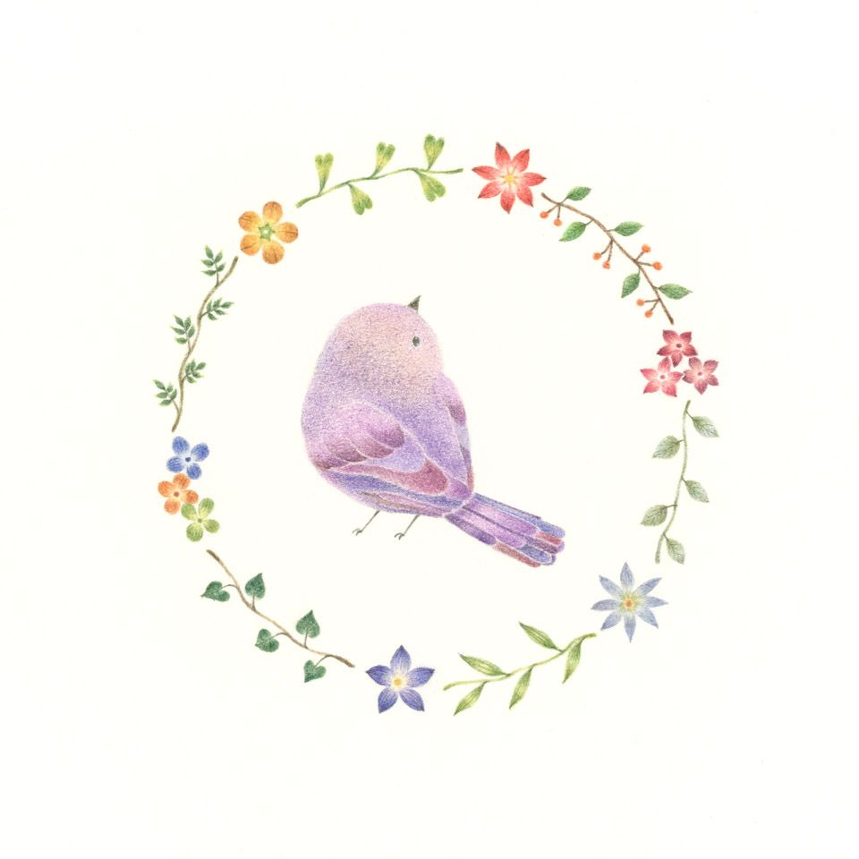 "little purple bird and wreath"" −rili, picture book, illustration"