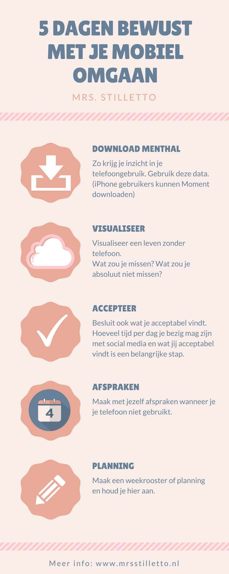 Infographic 5 Dagen bewust met je mobiel omgaan ©MrsStilletto #bewustwording #socialmediadetox #detox #ontstressen Over offline gaan