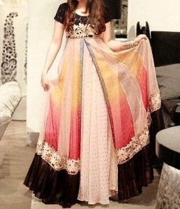 Double Open Shirt Style Tail Gown Frocks Plazo Dresses ...