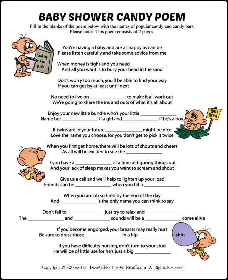 Baby Shower Candy Poem Game Baby shower candy, Candy
