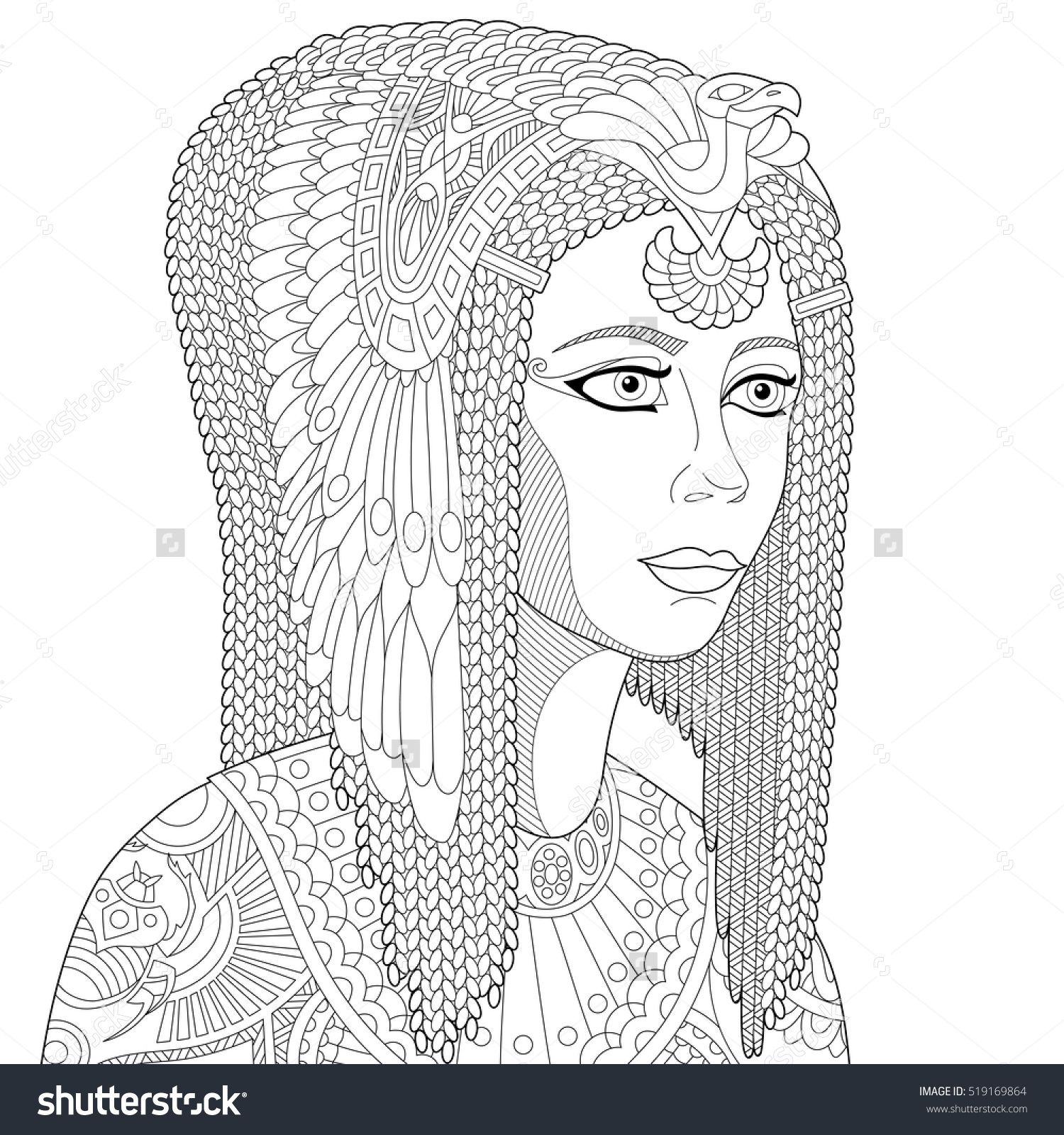 Stylized Cartoon Ancient Egyptian Queen Cleopatra Nefertiti Isolated On White Background Freehand Sketch For Adult Anti Stress Coloring Book Page With