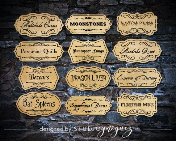 A good potion master must label their ingredients these are great for any harry potter