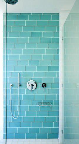 Aqua Glass Subway Tile Modern, Glass Subway Tile Bathroom
