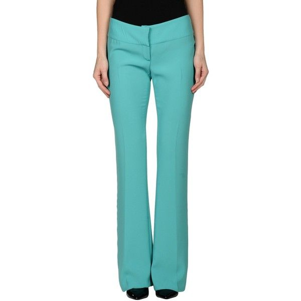 Scrupoli Casual Trouser ($61) ❤ liked on Polyvore featuring pants, light green, zipper pants, blue pants and zip pants