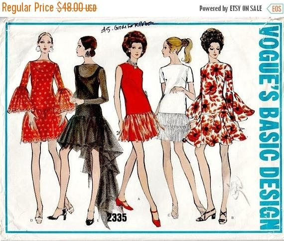 31c8043eee 1969 Low-Waisted Party Dress Pattern VOGUE 2335 Out of Print Vintage ...