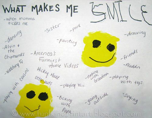What make me smile preschool handprint smiley face for Emotion art projects