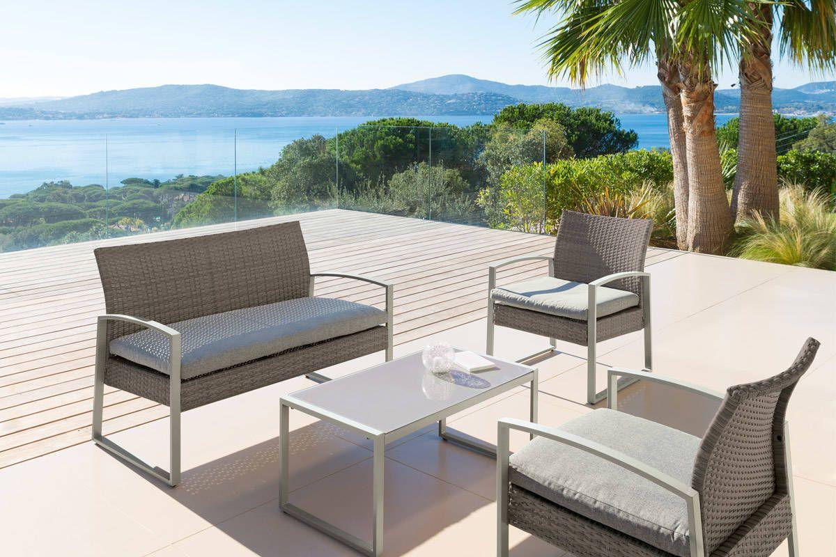 Salon Crete Mokaccino 4 Places Acier Traite Epoxy Resine Tressee Hesperide Reglisse 199 00 Mobilier De Jardin Design Meubles En Teck Mobilier Jardin