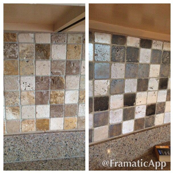 Travertine Kitchen Backsplash: Painted Travertine Tile Backsplash To Gray Tones.