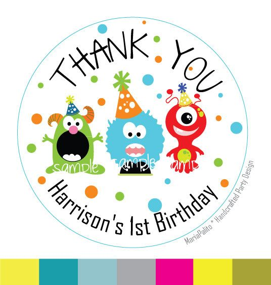 Monster birthday party personalized thank you birthday printed round stickers tags labels or envelope seals monster birthday a658