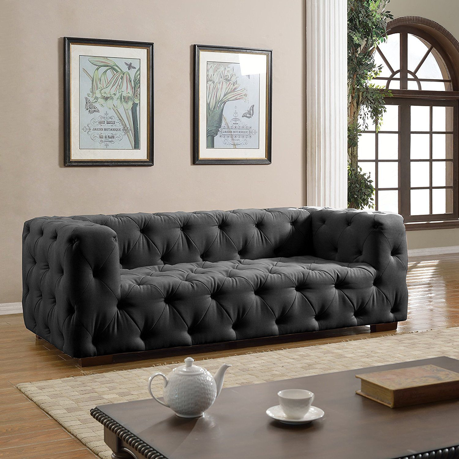 Amazon Com Large Tufted Linen Fabric Chesterfield Sofa Classic Living Room Couch Dark Grey Ki Sofa Upholstery Classic Living Room Fabric Chesterfield Sofa