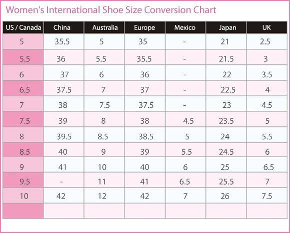 Women   international shoe size conversion chart canada australia europe mexico also rh pinterest