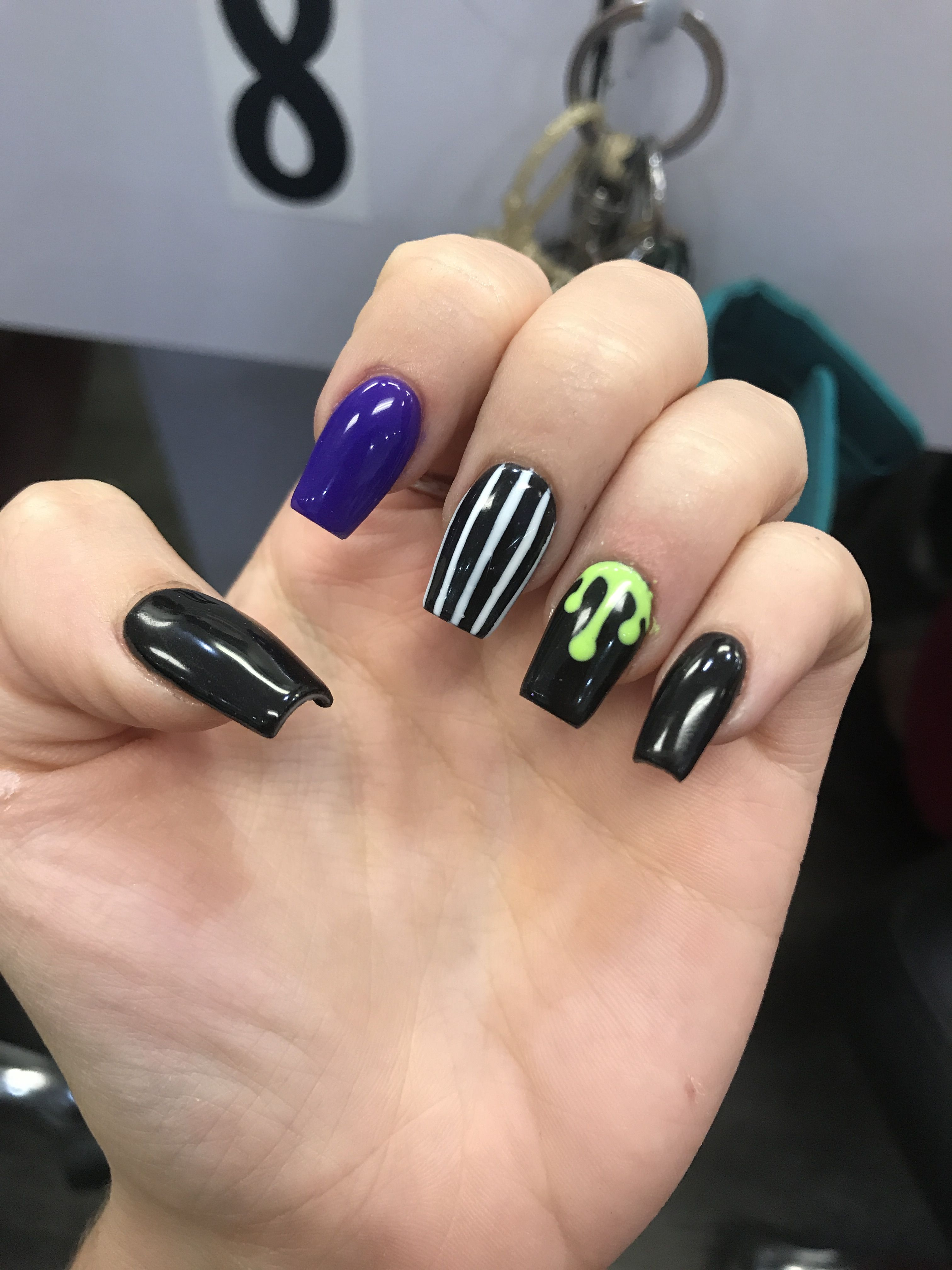 Black drip striped beetle juice nails for Halloween ...