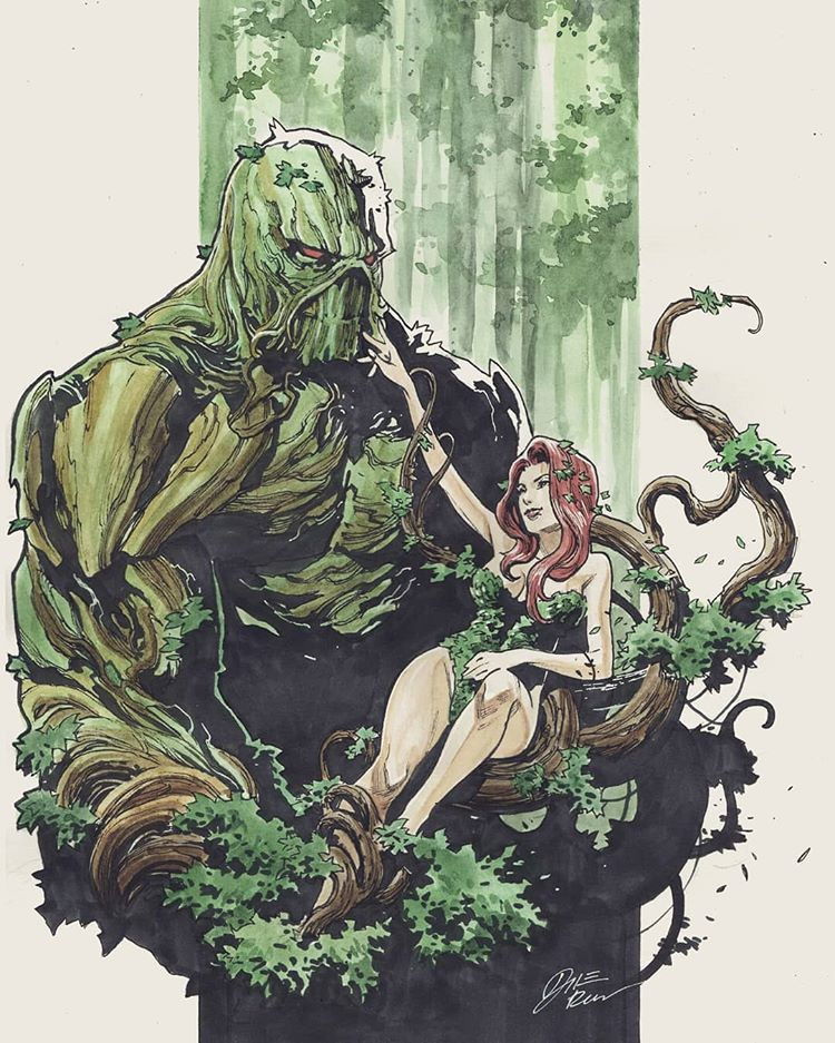 Swamp thing + Poison Ivy by Dike Ruan #dccomics #poisonivy #swampthing #swamp #comics #illustration #drawing #comicbook #comicart #dc… #swampthing