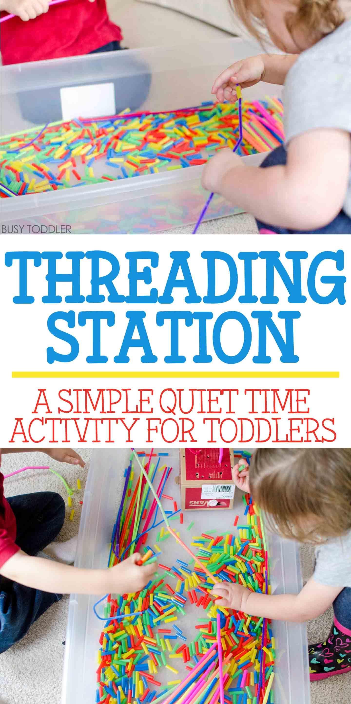 Threading Station Quiet Time Activity Toddler Activities Indoor