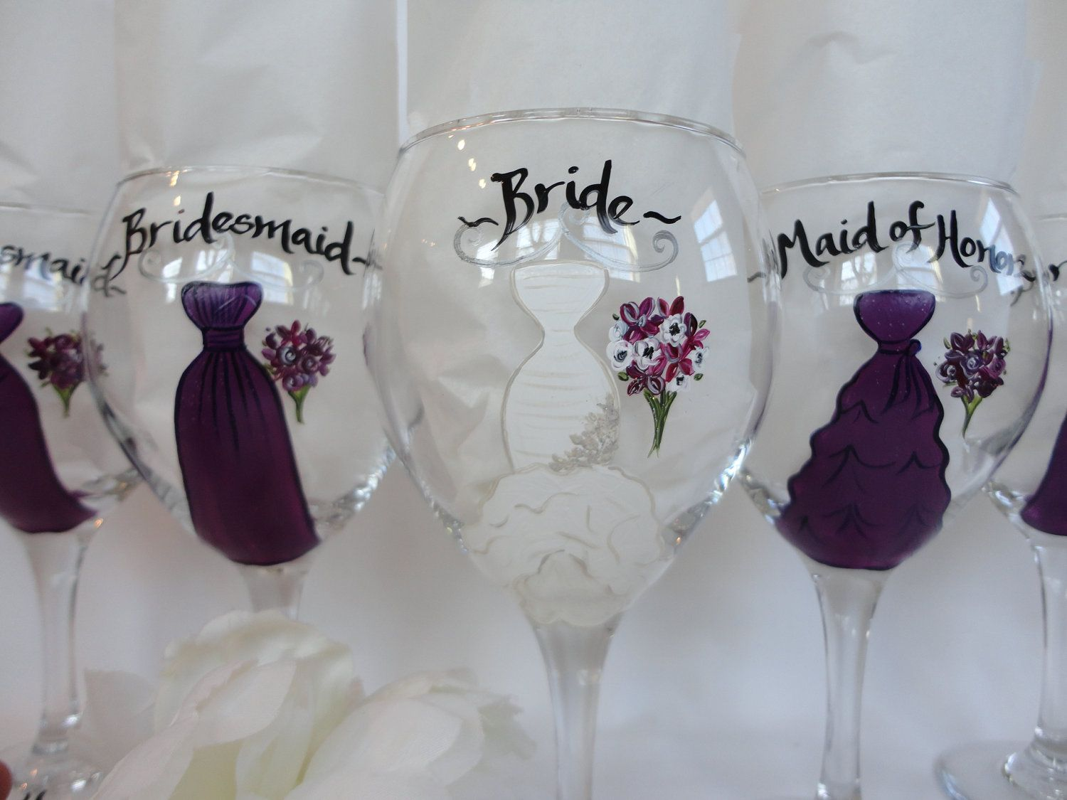 042a8d603d8 Personalized Hand Painted Bridesmaid Dress Wine Glasses - CUSTOM DRESS  STYLE -Gift Wrapping Available. $24.00, via Etsy.