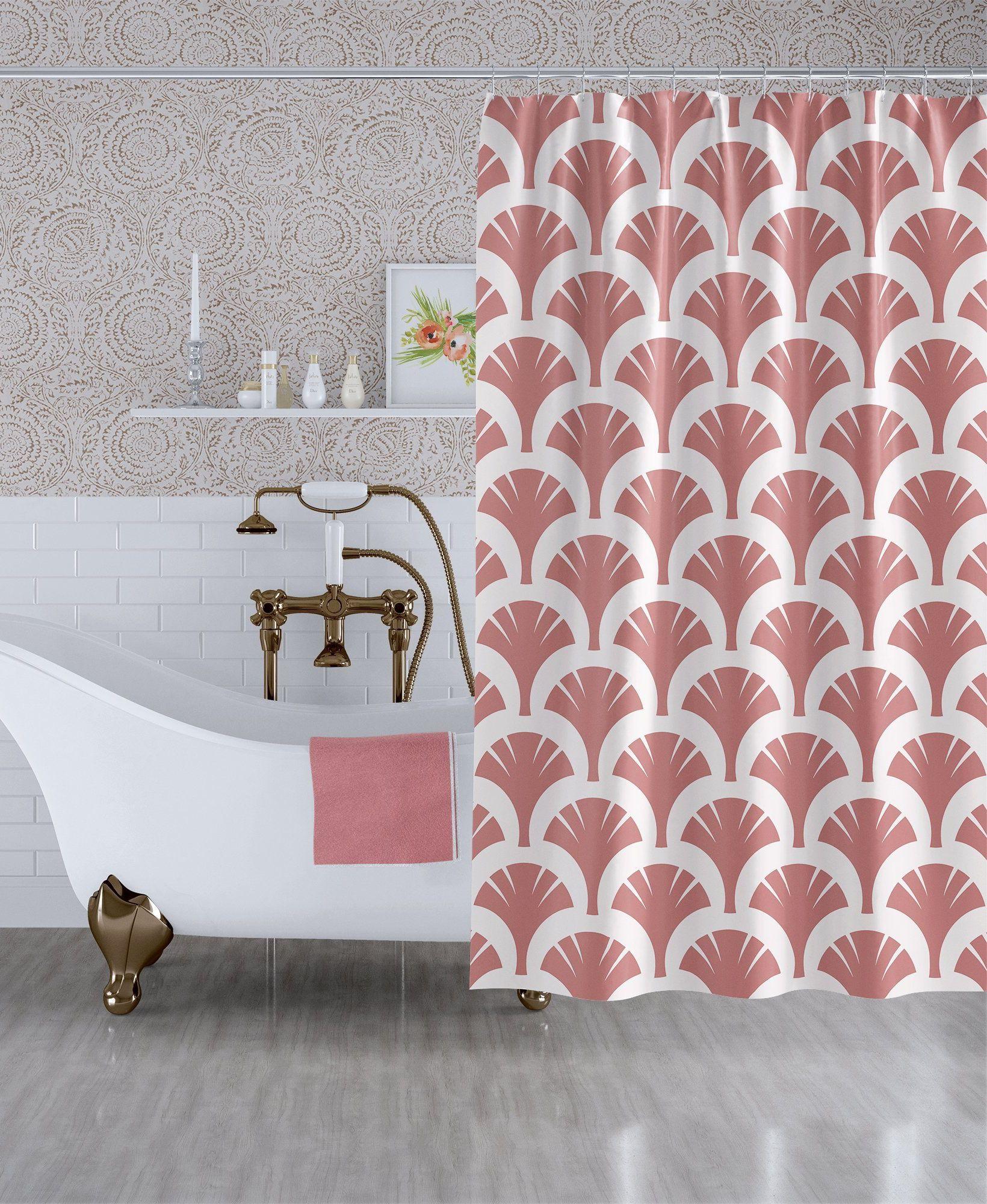 Terracotta Art Deco Fabric Shower Curtain Boho Bathroom Decor