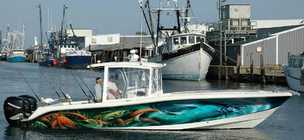 Hydra 33 foot boat wrap by artful signs inc boat wraps for Fishing boat wraps